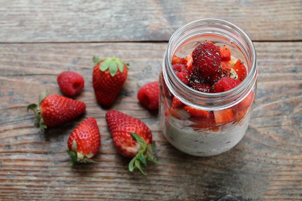 Overnight Oats Erdbeer-Himbeere 1