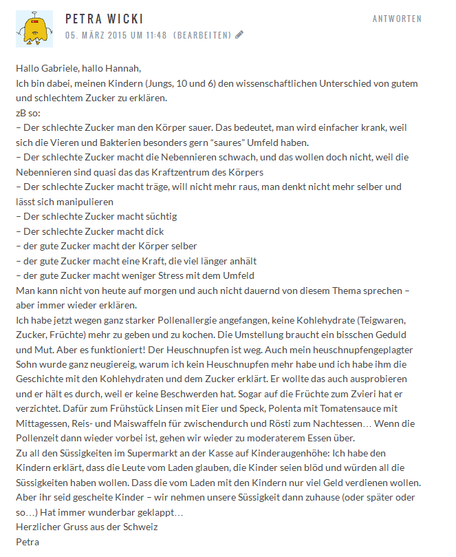 Projekt Zuckerfrei Kommentar Petra