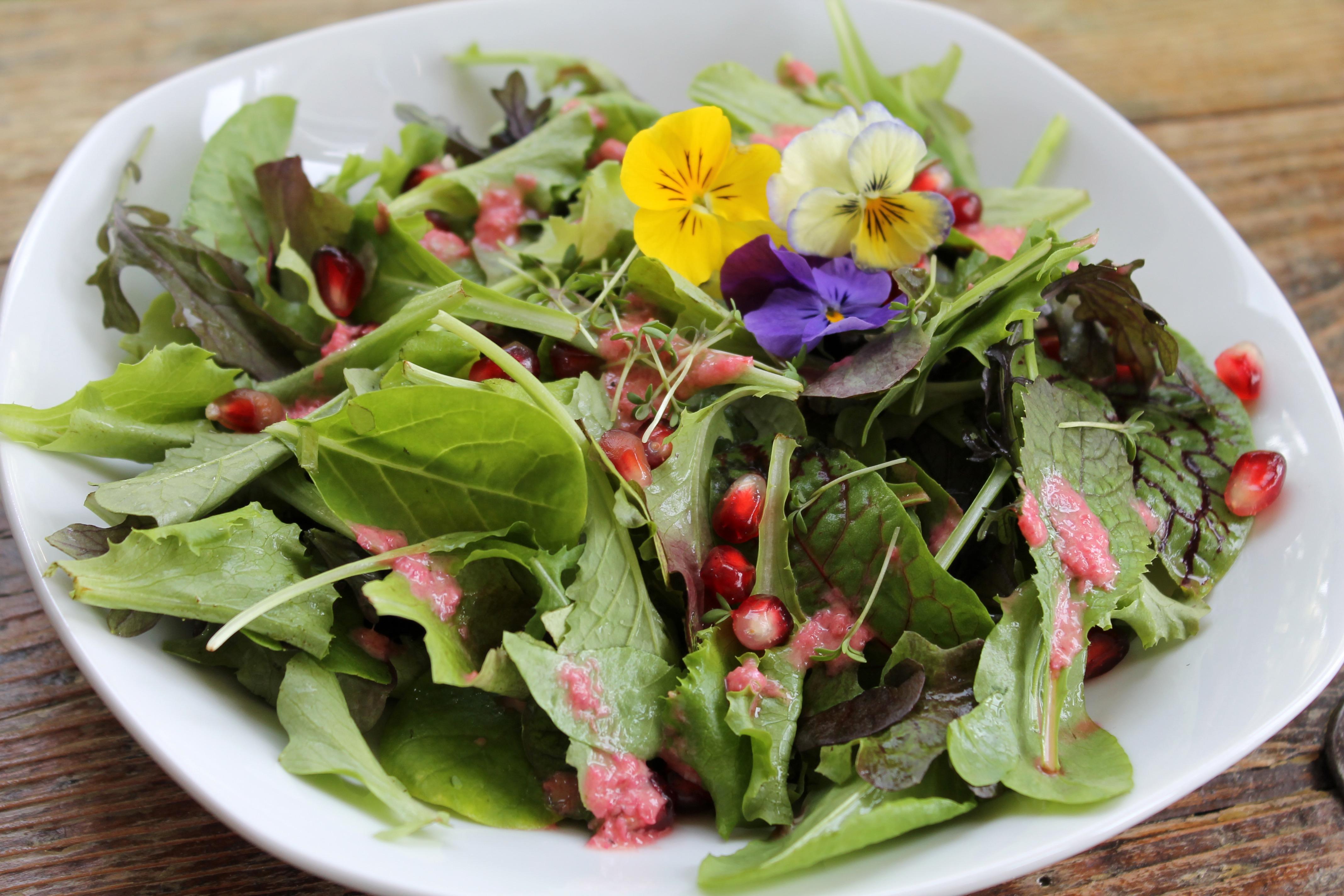 Salat mit Granatapfelsoße und Kresse 1