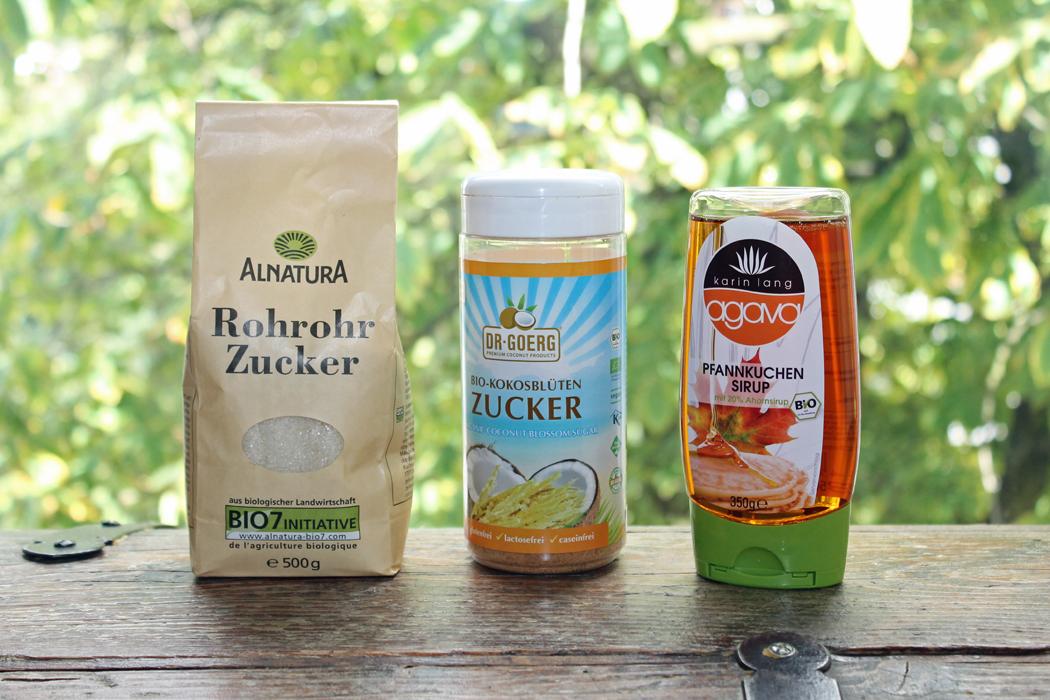 Zuckeralternativen Rohrohrzucker Kokosblütenzucker Agavendicksaft